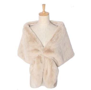 Beige Faux Fur Wrap