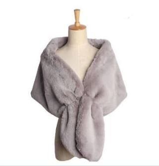 Light Grey Faux Fur Wrap